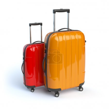 Luggage. Two baggage suitcases  isolated on white.