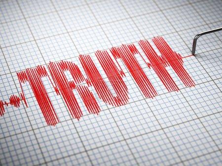Photo pour Concept de vérité. Gros plan d'un détecteur de mensonges polygraphique avec texte. Illustration 3d - image libre de droit