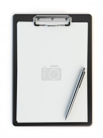 Clipboard and pen isolated on white with copy space.