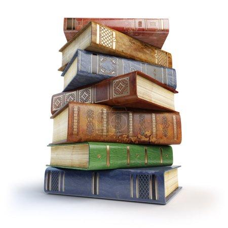 Photo pour Vieux livres. Une pile de livres vintage isolés sur du blanc. Illustration 3d - image libre de droit