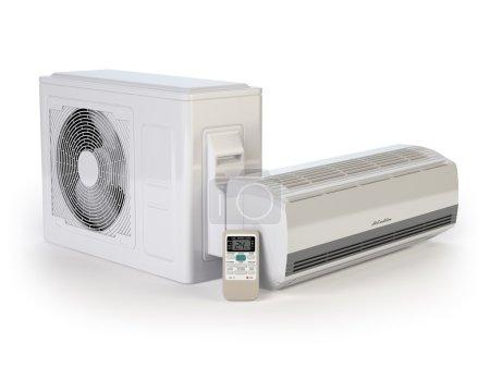 Photo pour Système de climatiseur isolé sur blanc. illustration 3D - image libre de droit