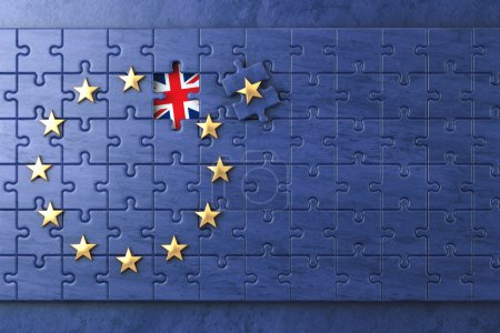 Brexit concept. Puzzle with EU European Union flag  without Grea