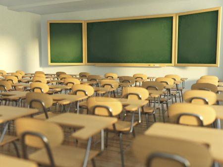 Photo for School classroom with empty school chairs and blackboard. Back to school concept. 3d illustration - Royalty Free Image