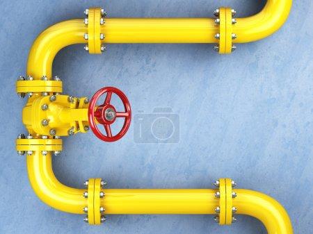 Photo pour Soupape de gazoduc jaune sur un mur bleu. Espace pour le texte. Illustration 3d - image libre de droit