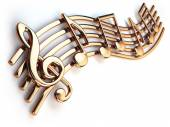 Golden music notes and treble clef on musical strings isolated o