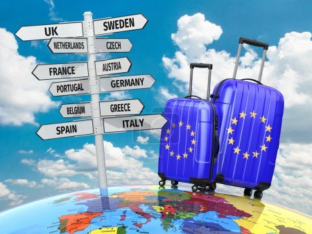 Photo for Travel concept. Suitcases and signpost what to visit in Europe. 3d - Royalty Free Image