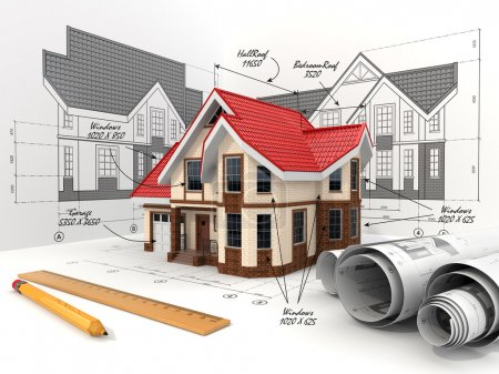 Photo pour Maison sur les projets dans différentes projections et plans. Concept de construction . - image libre de droit