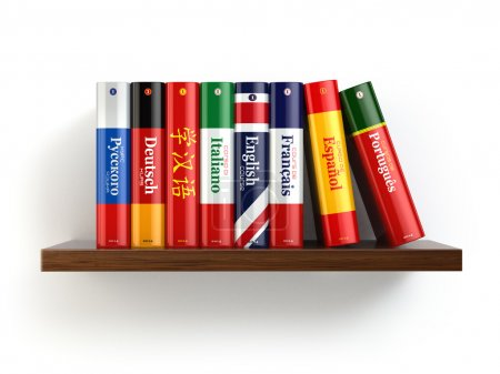 Photo for Dictionaries on bookshelf white isolated backgound. 3d - Royalty Free Image
