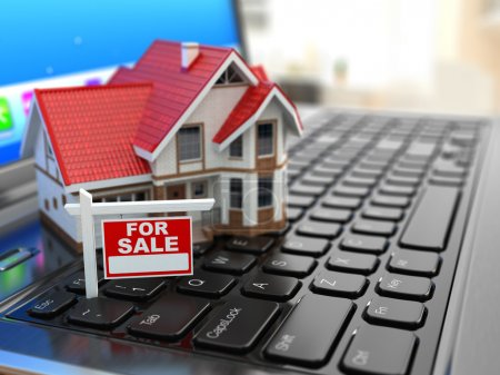 Photo for Real estate agency online. House on laptop keyboard. 3d - Royalty Free Image