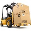 Forklift truck with boxes on pallet. Cargo. 3d...