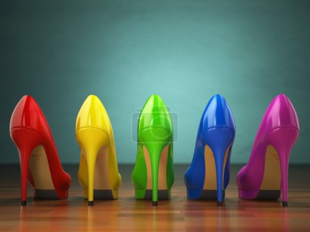Choice of high heels shoes in different colors. Shopping concept