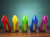 "Постер, картина, фотообои ""Choice of high heels shoes in different colors. Shopping concept"""