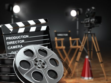 Photo for Video, movie, cinema concept. Retro camera, reels, clapperboard and director chair. 3d - Royalty Free Image