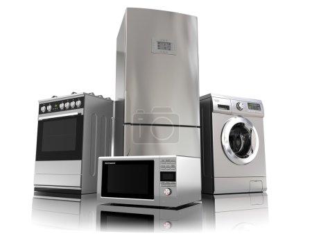 Photo pour Appareils ménagers. Ensemble de techniques de cuisine domestique isolé sur blanc. Réfrigérateur, cuisinière à gaz, four à micro-ondes et lave-linge. 3d - image libre de droit