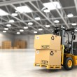 Forklift truck in warehouse or storage loading car...