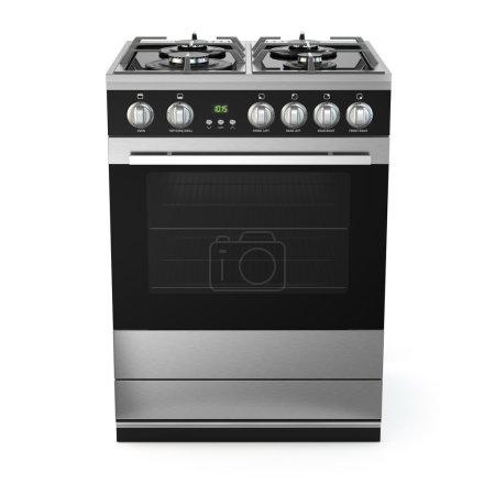 Photo pour Acier inoxydable cuisinière à gaz avec four isolé sur blanc. 3D - image libre de droit