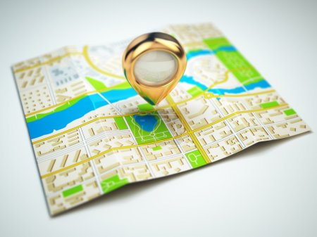 Navigation concept. GPS map of the city and golden pin.