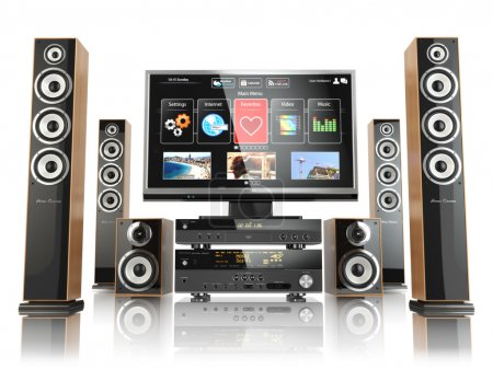Home cinemar system. TV,  oudspeakers, player and receiver  isol