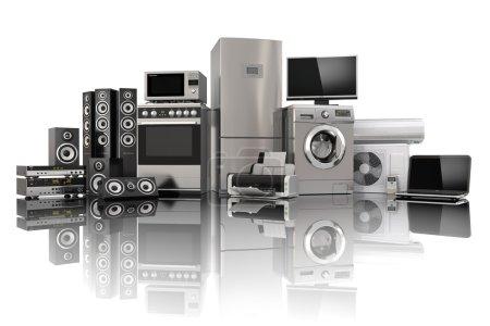 Photo pour Appareils ménagers. Cuisinière à gaz, TV cinéma, réfrigérateur climatiseur micro-ondes, ordinateur portable et lave-linge. 3d - image libre de droit