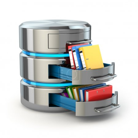 Database storage concept. Hard disk icon with folders  isolated