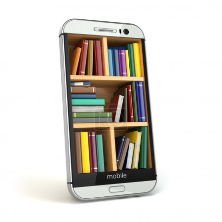 Photo for E-learning education or internet library concept. Smartphone and books. 3d - Royalty Free Image