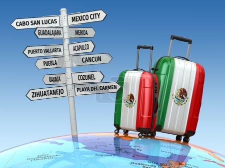 Foto de Concepto de viaje. maletas y poste indicador Qué visitar en México. 3D - Imagen libre de derechos