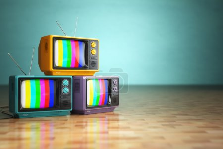 Photo for Vintage television concept. Stack of retro tv set on green background. 3d - Royalty Free Image