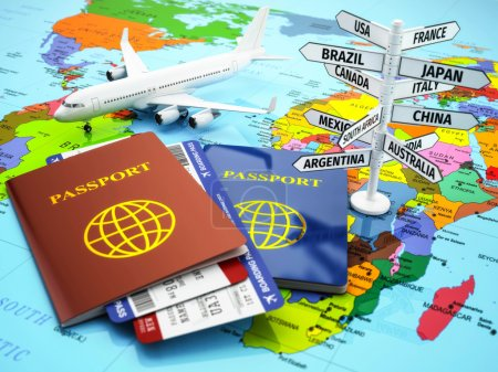 Photo for Travel or tourism concept. Passport, airplane, airtickets and destination sign on the map. 3d - Royalty Free Image
