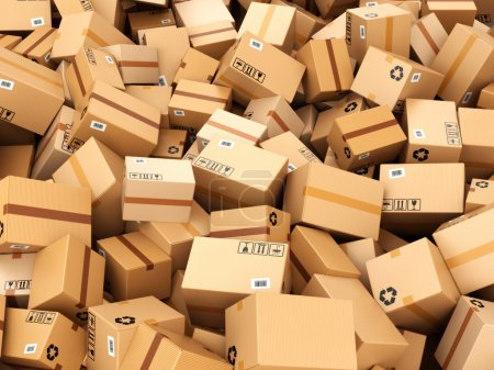 Photo for Stack of cardboard delivery boxes or parcels. Warehouse concept background. 3d - Royalty Free Image