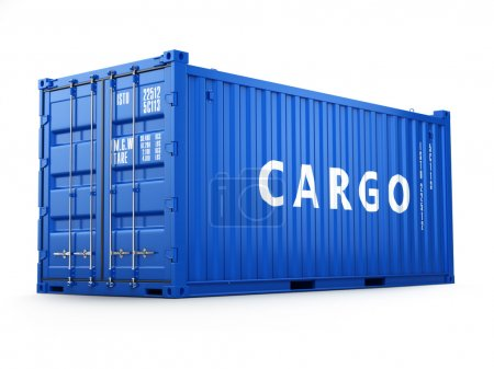 Photo for Cargo shipping container isolated on white. Delivery. 3d - Royalty Free Image