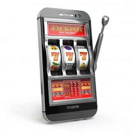 Online casino concept. Mobile phone and slot machine with jackpo