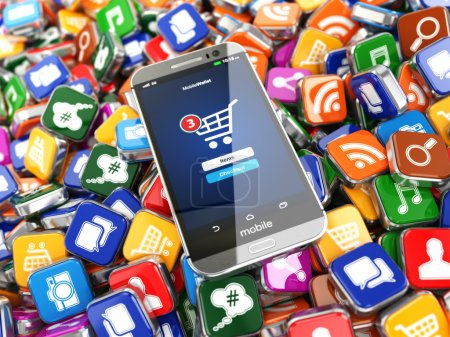 Photo for Smartphone apps. Mobile phone on the application software icons background. 3d - Royalty Free Image