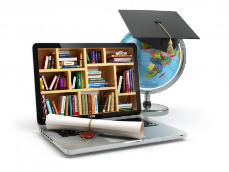 Photo for Education concept. Laptop with books, globe, graduation cap and diploma. 3d - Royalty Free Image