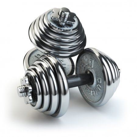 Dumbbell weight isolated on white. Chrome fitness equipment.