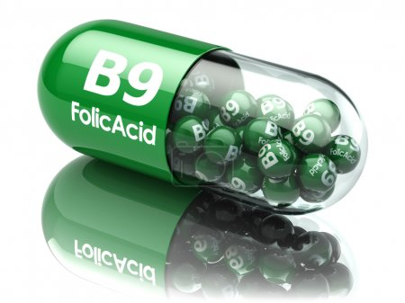 Pills with b9 folic acid element. Dietary supplements. Vitamin c
