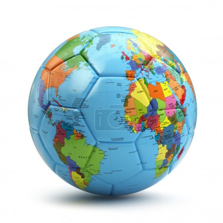 World cup concept. Soccer or football ball with world map.