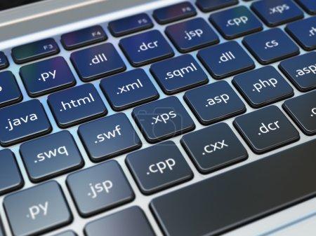 Photo pour Concept de développement pour le design Web, programmation ou Seo termnes sur le clavier d'ordinateur portable. 3D - image libre de droit