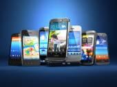 Scegliere il telefono cellulare. Riga degli smartphone diversi ba blu