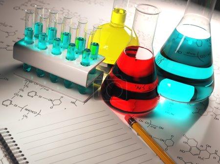 Photo pour Concept de chimie scientifique.Tubes à essai de laboratoire et flacons avec des liquides colorés. 3d - image libre de droit