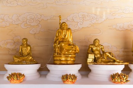 Gold Sculptures of Venerated Monks at Canton Shrine