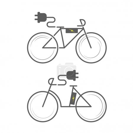 Electro bicycles icons set
