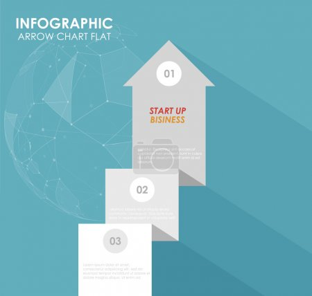 Illustration for Curved arrow data. Steps for business in flat design - Royalty Free Image