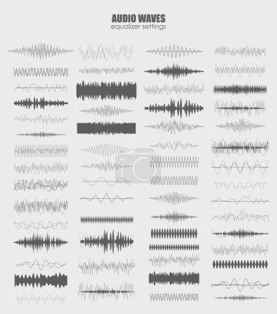 Illustration pour Ensemble de technologie d'égaliseur audio, pulsation musicale. Égaliseur audio écran d'onde sonore horizontal. illustration vectorielle isolée abstraite - image libre de droit