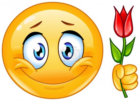 Illustration for Vector design of an emoticon with flower - Royalty Free Image