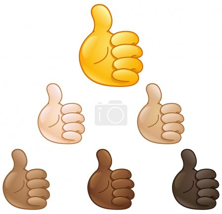 Illustration for Thumbs up hand emoji set of various skin tones - Royalty Free Image