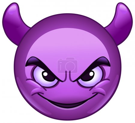 Illustration for Smiling face with horns. Purple devil emoticon. - Royalty Free Image