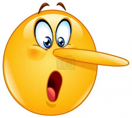 Illustration for Lying face emoticon. Emoticon with long nose indicating the telling of a lie. - Royalty Free Image