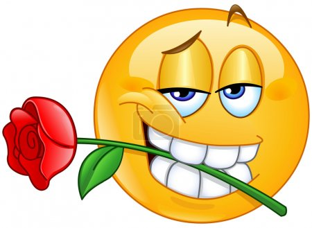 Illustration for Charming emoticon holding red rose flower between teeth in mouth - Royalty Free Image