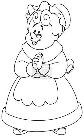 Illustration pour Heureuse Mme Claus. Illustration vectorielle coloriage . - image libre de droit