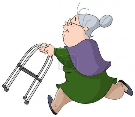 Alte Frau läuft mit Rollator
